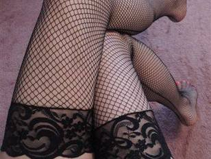 Black Fishnet Stockings With Back Seam