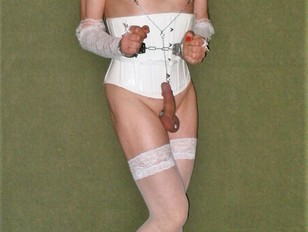 Rachel in White Basque and Stockings