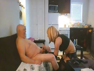 Skinny Whore Sucking an Old Man Dick