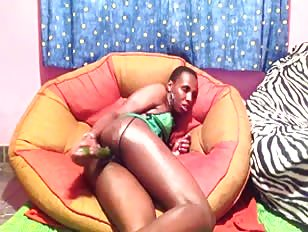 Slutty Black Crossdresser Smokes and Fucks Big Dildo