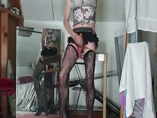 Blonde sissy cumming for the camera