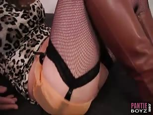 crossdesser slowly wanks his big cock ready for femdoms teasing nylon footjob