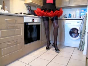 Sexy Amateur crossdresser solo in a kitchen