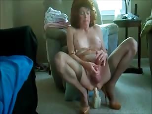 Mature CD Slut Enjoys Riding Dildos