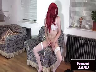Redhead Crossdresser Plays with His Asshole and Cock