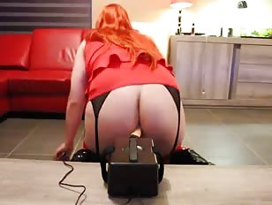 Redhead Crossdresser Fucked by New Sex Machine
