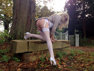 Amateur Crossdresser Outdoors in Lingerie