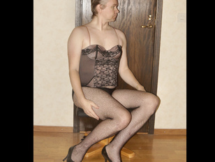 Crossdresser in Fishnet High Heels