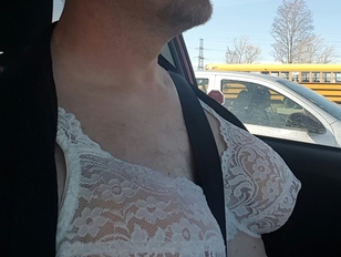 Showing bra while driving