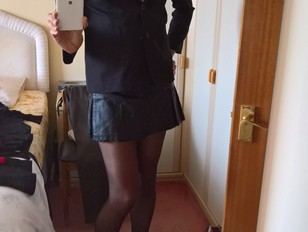 Katie Savira crossdressing in a schoolie outfit