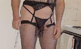 MOUNIR MOURACADE CROSSDRESSER IN BLACK LINGERIE