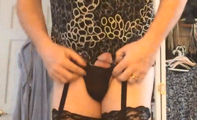 Josie In Black Stroking Cock