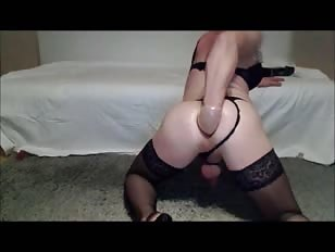 Horny Crossdresser Fist Cum and Fucks a Huge Toy