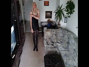 Crossdresser Stripteas - Sissy Sandy Takes off Her Dress