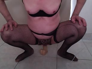Sissy Taking a Huge Dildo Deep Inside