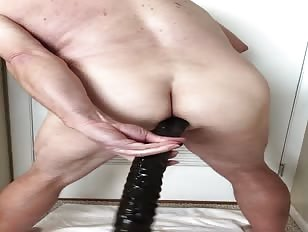 Sissy FatBrad Fucks her Asshole With a 17 inch Dildo