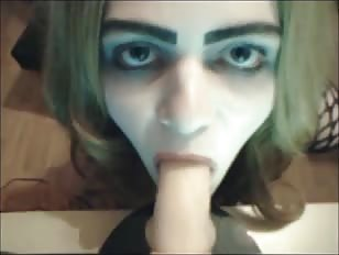 Young Cute Crossdresser Practices Her Blowjob Skills
