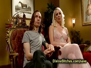 Blonde fucks crossdresser with strapon