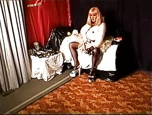 Crossdresser Jacks Her Cock Clad In Angora Sweater