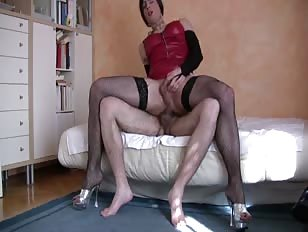 Horny CD Riding Cock