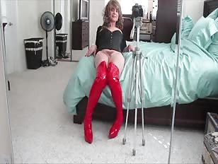 Posing in Sexy Red Boots