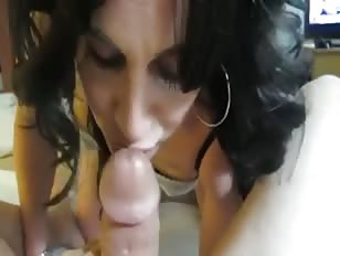 Cute CD Gives Blowjob and Gets Facial