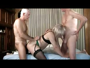2 Older Men Having Fun with Amateur Crossdresser