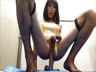 Japanese Crossdesser Rides Dildo and Cums
