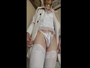 Crossdresser in Sexy White Lingerie Shows Massive Cock