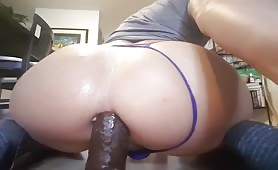 CD Trying To Fuck Big Black Dildo with Her Horny Ass