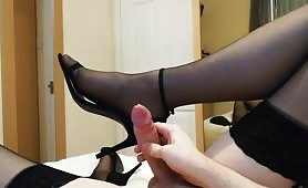 Young cd's first cum in heels and stockings