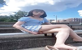Cute Chinese CD Wanks & Cums in Public