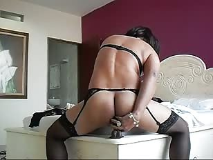 Latin Mature Sissy and Black Dildo